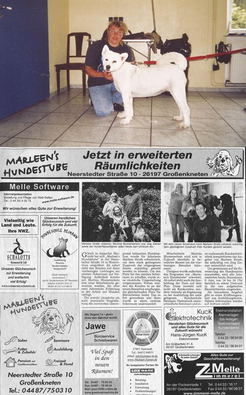 Erweiterung Hundesalon und Mitarbeiterin Martina Blumenschein